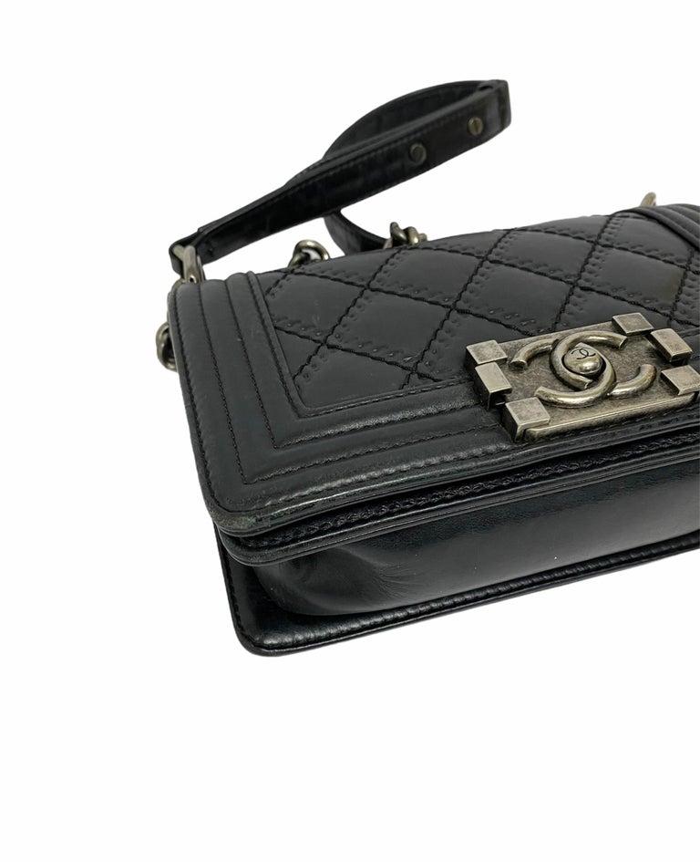 Chanel Black Leather  Boy Bag  For Sale 2