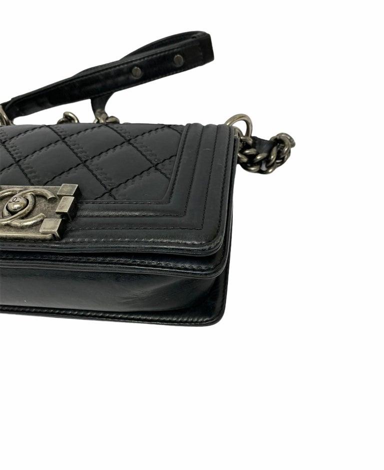 Chanel Black Leather  Boy Bag  For Sale 3