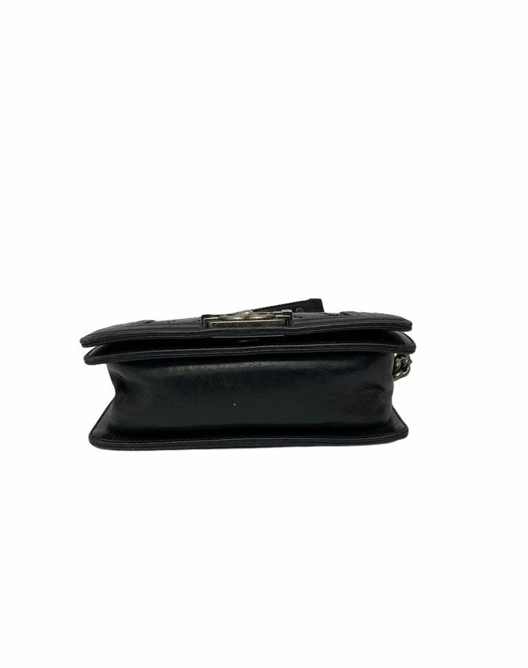 Chanel Black Leather  Boy Bag  For Sale 4