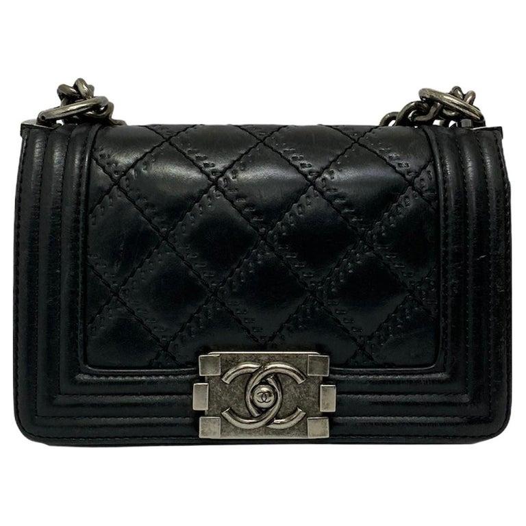 Chanel Black Leather  Boy Bag  For Sale