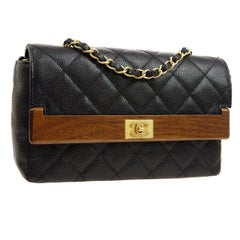 Chanel Black Leather Brown Wood Gold Evening Shoulder Single Flap Bag