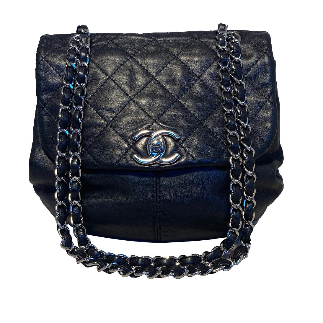 Chanel Black Leather Bucket Flap Shoulder Bag