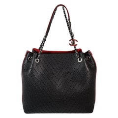 Chanel Black Leather & Burgundy Suede Tote Bag