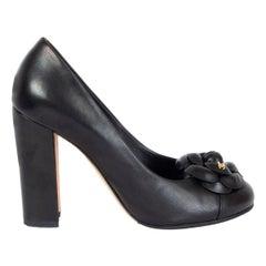 CHANEL black leather CAMELIA BLOCK HEEL Pumps Shoes 38.5