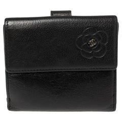 Chanel Black Leather Camellia Embossed Compact Wallet