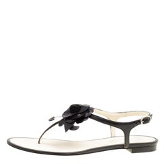 Chanel Black Leather Camellia Flat Thong Sandals Size 38