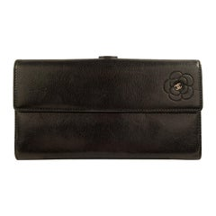 Chanel Black Leather Camellia Long Continental Flap Wallet