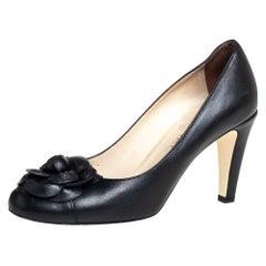 Chanel Black Leather Camellia Pumps Size 39