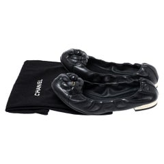 Chanel Black Leather Camellia Scrunch Ballet Flat Size 39
