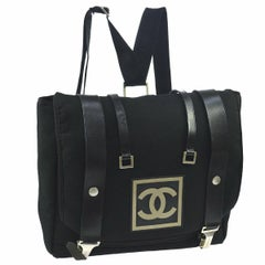 47feb3f0a7ad Chanel Black Leather Canvas Messenger Men's Women's Travel Carryall Backpack  Bag