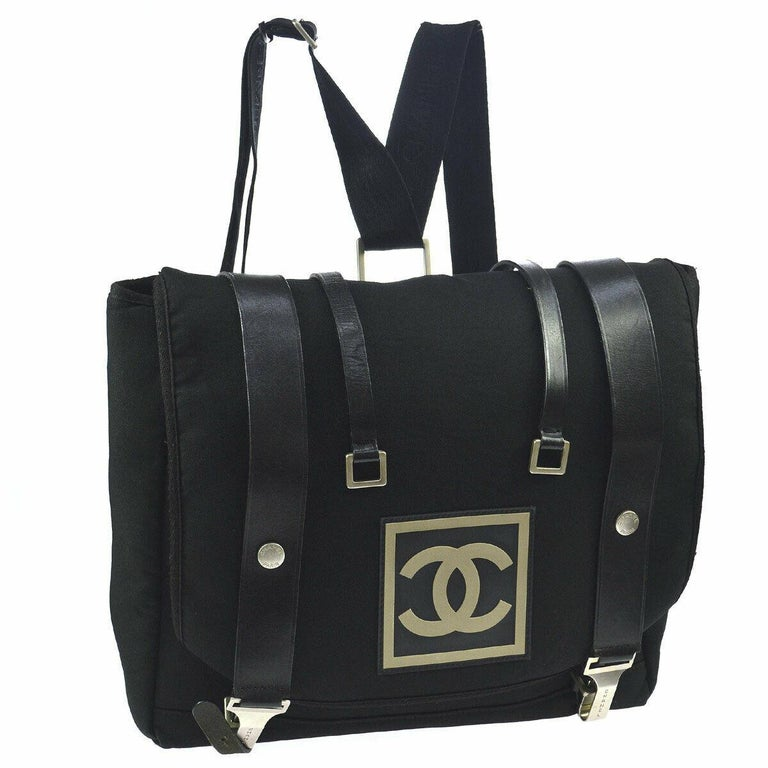 e349f1be23cb Chanel Black Leather Canvas Messenger Men's Women's Travel Carryall Backpack  Bag ...