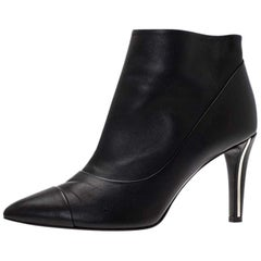 Chanel Black Leather Cap Toe Ankle Boots Size 38