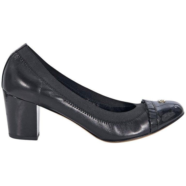 Chanel Black Leather Cap-Toe Kitten Heels For Sale