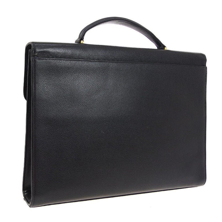 Chanel Black Leather Carryall Business Top Handle Travel Brief Briefcase Bag II In Good Condition For Sale In Chicago, IL