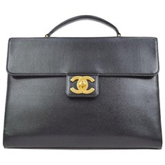 Chanel Black Leather Carryall Business Top Handle Travel Brief Briefcase Bag II