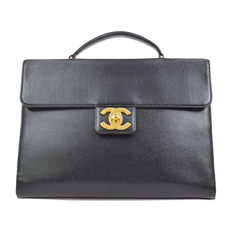 Chanel Black Leather Carryall Business Top Handle Travel Brief Briefcase Bag II For Sale