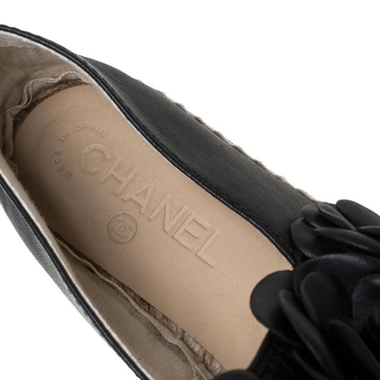 Chanel Black Leather CC Camellia Espadrilles Size 37 For Sale 2