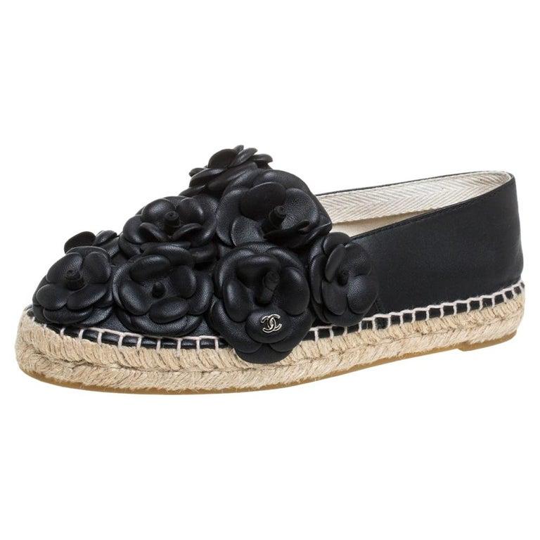 Chanel Black Leather CC Camellia Espadrilles Size 37 For Sale