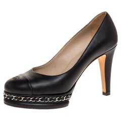 Chanel Black Leather CC Cap Toe Chain Detail Platform Pumps Size 36.5