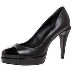 Chanel Black Leather CC Cap Toe Platform Pumps Size 38
