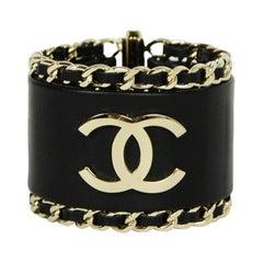 Chanel Black Leather CC Cuff Bracelet w/ Leather Laced Chain Trim