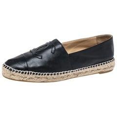 Chanel Black Leather CC Espadrilles Size 39