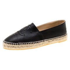 Chanel Black Leather CC Espadrilles Size 41