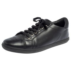 Chanel Black Leather CC Low Top Sneakers Size 44