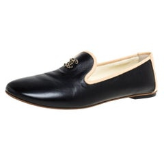 Chanel Black Leather CC Smoking Slippers Size 37.5