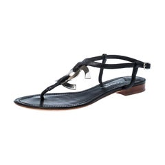 Chanel Black Leather CC Thong Flat Sandals Size 37.5