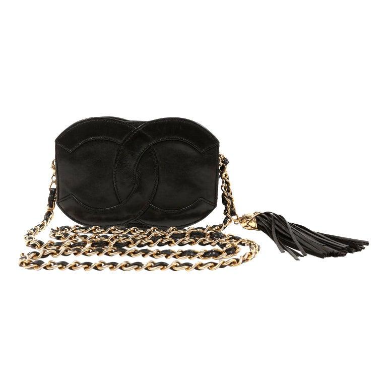 Chanel Black Leather CC Vintage Crossbody Bag For Sale
