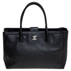 Chanel Black Leather Cerf Shopper Tote