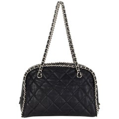 CHANEL black leather CHAIN AROUND BOWLER Shoulder Bag
