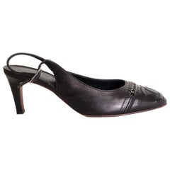 CHANEL black leather CHAIN CC Slingbacks Pumps Shoes 37