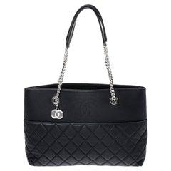 Chanel Black Leather Chain Shopper Tote