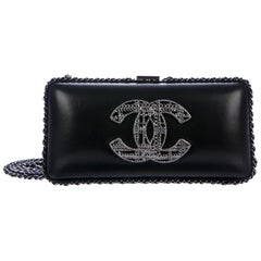 Chanel Black Leather Charm CC Silver Metal Evening 2 in 1 Clutch Shoulder Bag