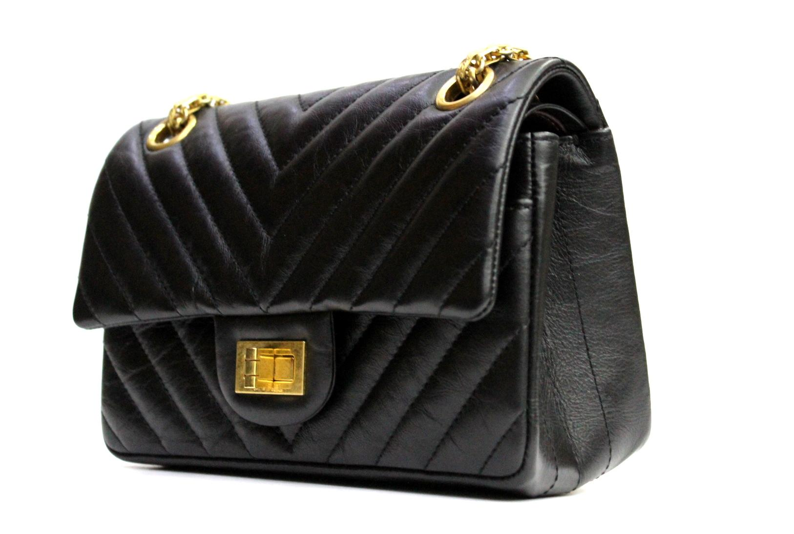 af670a4c2ee9b0 Chanel Black Leather Classic 2.55 Small Size Bag at 1stdibs