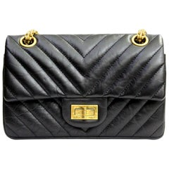 Chanel Black Leather Classic 2.55 Small Size Bag