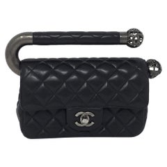 Chanel Black Leather Classic Flap Bag with Metal Handle