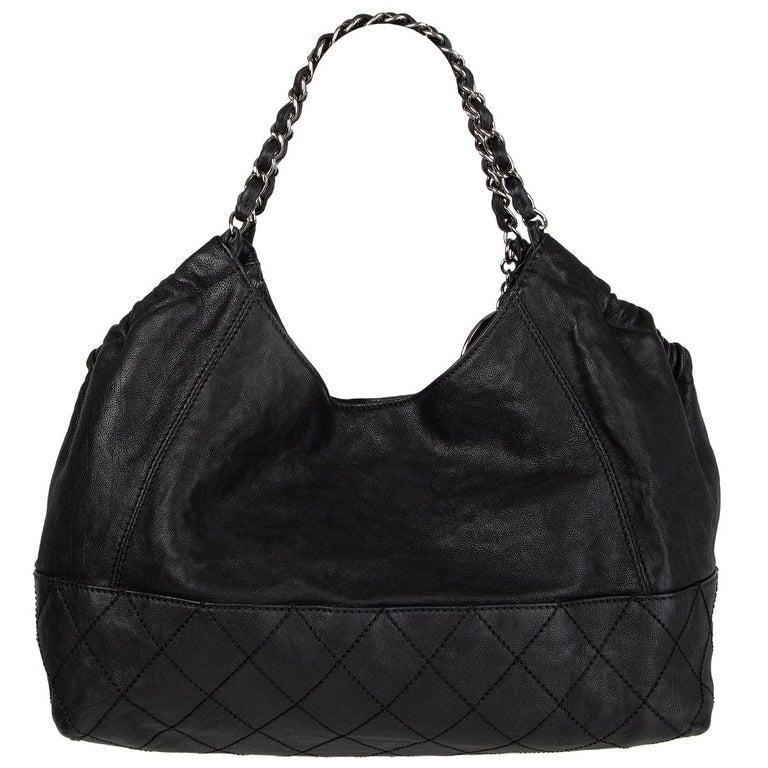 Black CHANEL black leather COCO CABAS Shoulder Bag For Sale
