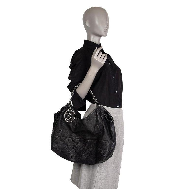 CHANEL black leather COCO CABAS Shoulder Bag For Sale 4