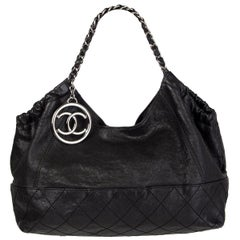 CHANEL black leather COCO CABAS Shoulder Bag