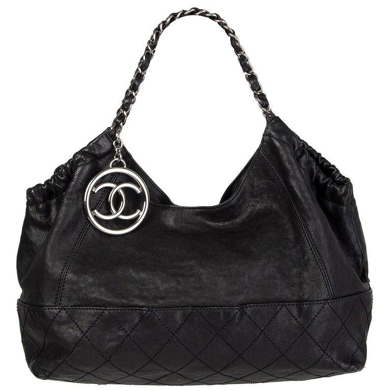 CHANEL black leather COCO CABAS Shoulder Bag For Sale