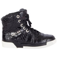 CHANEL black leather CROCODILE EMBOSSED Sneakers Shoes 38
