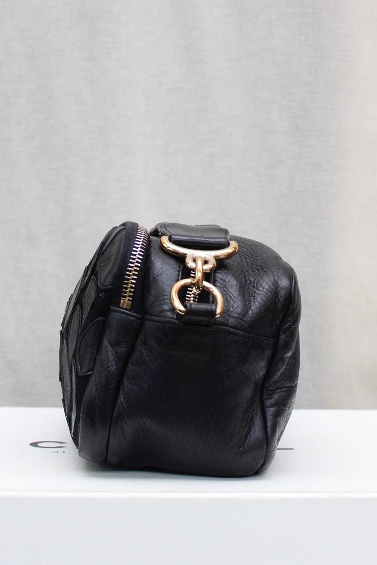 Chanel black leather cross-body bag, 2000's For Sale 3