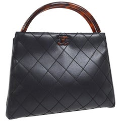 Chanel Black Leather Cross Stitch Kelly Brown Tortoise Top Handle Satchel Bag