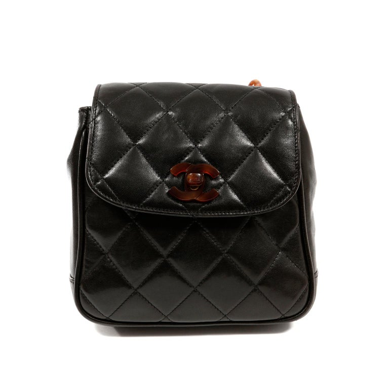 Chanel Black Leather Crossbody Bag with Resin Tortoise Chain Strap For Sale 1