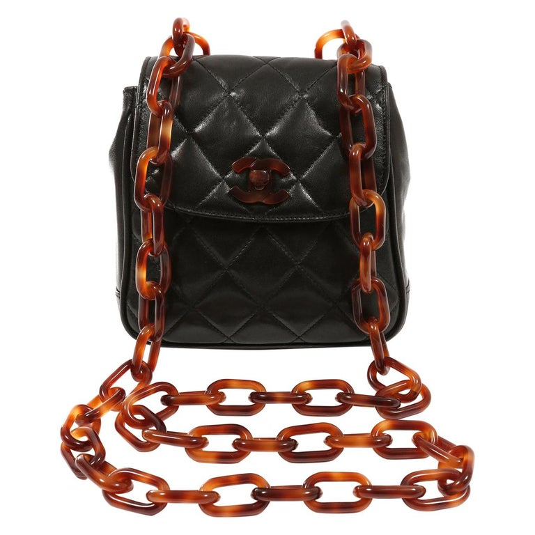 Chanel Black Leather Crossbody Bag with Resin Tortoise Chain Strap For Sale
