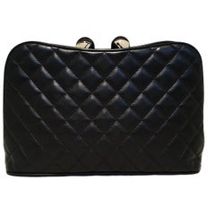 Chanel Black Leather Crystal Ball Kiss lock Clutch