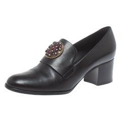 Chanel Black Leather Crystal Embellished Pumps Size 38.5